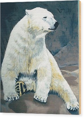 The Polar Bear Wood Print by Terry Forrest