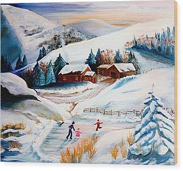 The Pond In Winter Wood Print by Renate Nadi Wesley