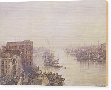 The Pool From The Adelaide Hotel London Bridge Wood Print by William Wyld