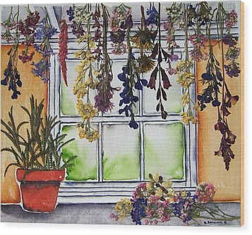 The Potting Shed II Wood Print by Regina Ammerman