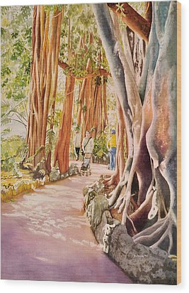 The Power Of The Banyan Wood Print by Terry Arroyo Mulrooney