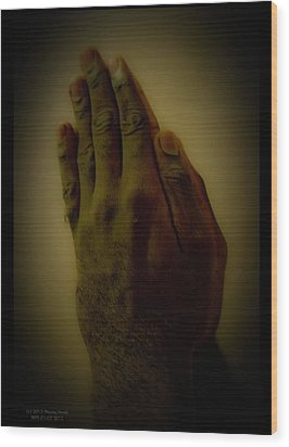 The Praying Hands Wood Print by David Alexander
