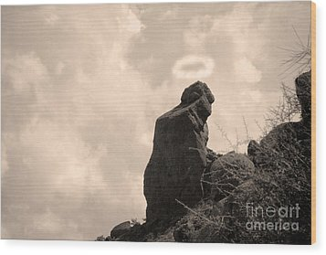 The Praying Monk With Halo - Camelback Mountain Wood Print by James BO  Insogna
