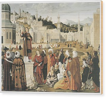 The Preaching Of Saint Stephen In Jerusalem Wood Print by Vittore Carpaccio