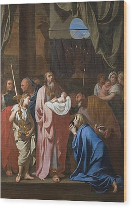 The Presentation Of Christ In The Temple Wood Print by Charles Le Brun