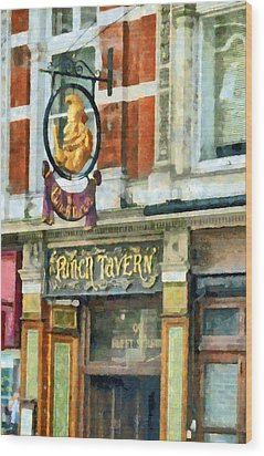 The Punch Tavern At 99 Fleet Street In London Wood Print by Steve Taylor