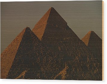 The Pyramids Of Giza In The Late Wood Print by Kenneth Garrett
