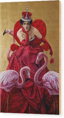 The Queen Of Hearts From Alice In Wonderland Wood Print by Jose Luis Munoz Luque