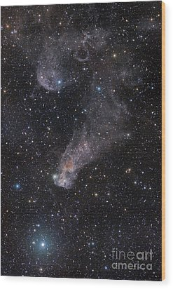 The Question Mark Nebula In Orion Wood Print by John Davis