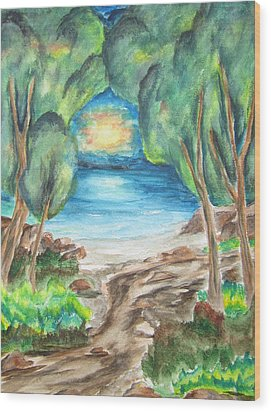 Wood Print featuring the painting The Quiet Ocean -wcs by Cheryl Pettigrew