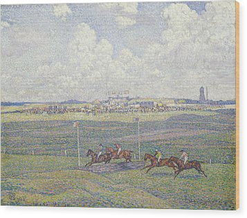 The Racecourse At Boulogne-sur-mer Wood Print by Theo van Rysselberghe