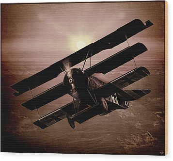 Wood Print featuring the photograph The Red Baron's Fokker At Sunset by Chris Lord