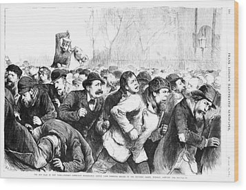The Red Flag In New York - Riotous Wood Print by Everett