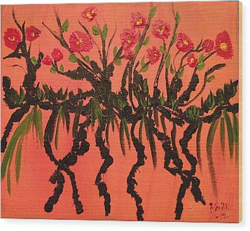 The Red Flowers By Sunset Wood Print by Pretchill Smith