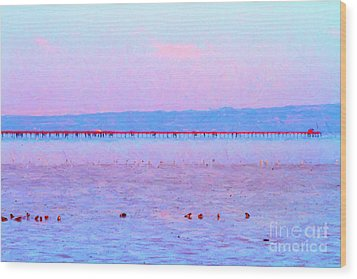 The Red Pier . 7d12310 Wood Print by Wingsdomain Art and Photography