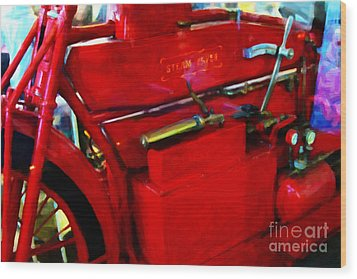 The Red Steam Flyer . Steam Powered Motorcycle . 7d14374 Wood Print by Wingsdomain Art and Photography