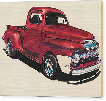 The Red Truck Wood Print