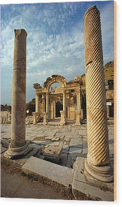 The Remains Of Hadrians Gate At Ephesus Wood Print by Gordon Gahan