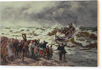 The Return Of The Lifeboat Wood Print by Thomas Rose Miles