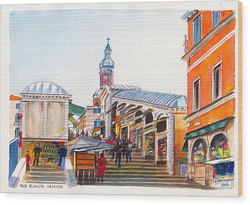 The Rialto Bridge Over The Grand Canal In Venice Italy Wood Print by Dai Wynn