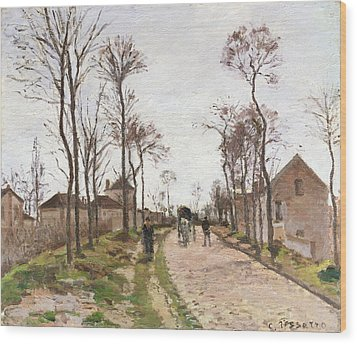 The Road To Saint Cyr At Louveciennes Wood Print by Camille Pissarro