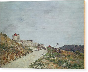 The Road To The Citadel At Villefranche Wood Print by Eugene Louis Boudin