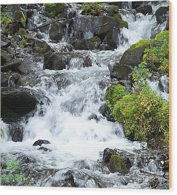Wood Print featuring the photograph The Roadside Stream by Chalet Roome-Rigdon