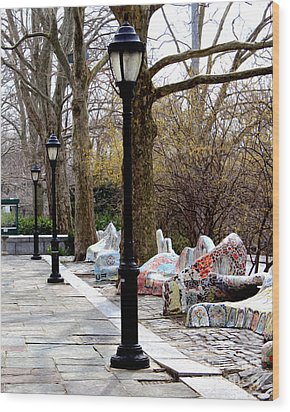 The Rolling Bench Wood Print by Anne Raczkowski