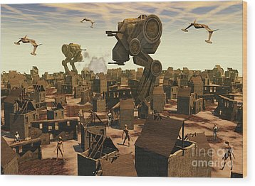 The Ruins Of An Earth Type Environment Wood Print by Mark Stevenson