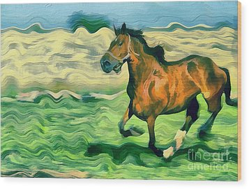 The Running Horse Wood Print by Odon Czintos