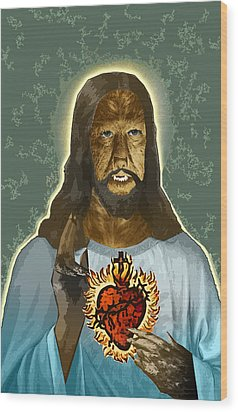The Sacred Heart Of Wolfman Jesus Wood Print by Travis Burns