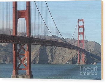 The San Francisco Golden Gate Bridge - 7d19184 Wood Print by Wingsdomain Art and Photography