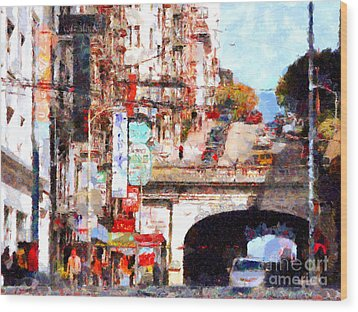 The San Francisco Stockton Street Tunnel . 7d7355 Wood Print by Wingsdomain Art and Photography