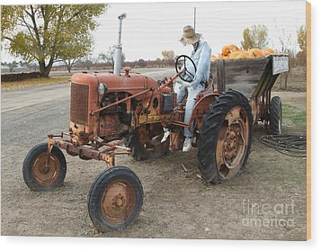 The Scarecrow Riding On The Old Farm Tractor . 7d10299 Wood Print by Wingsdomain Art and Photography