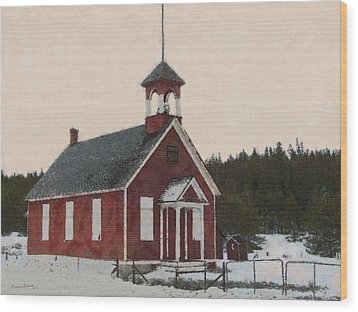 The School House Painterly Wood Print by Ernie Echols