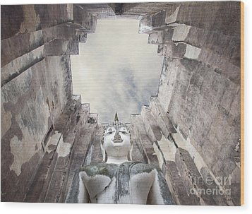The Sculpture Of Buddha And Blue Sky In Historical Park Thailand  Wood Print by Anek Suwannaphoom