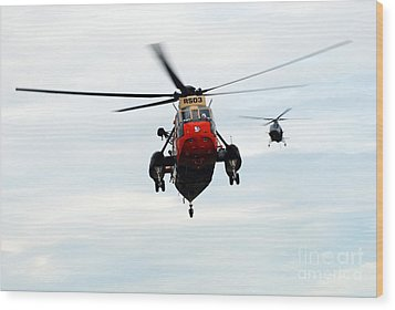 The Sea King Helicopter And The Agusta Wood Print by Luc De Jaeger