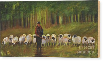The Sheep Herder Wood Print