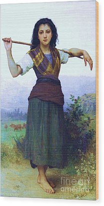The Shepherdess Wood Print by Pg Reproductions