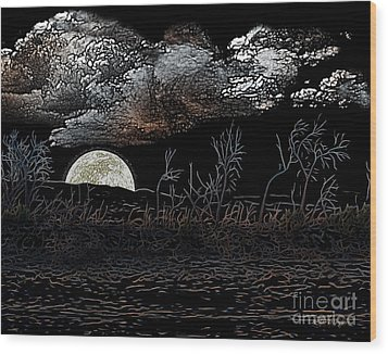 Wood Print featuring the digital art The Sky Is Low by Rhonda Strickland