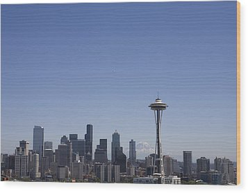 The Skyline Of Seattle On A Sunny Wood Print by Taylor S. Kennedy