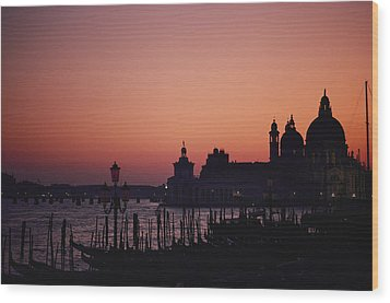 The Skyline Of Venice Silhouetted Wood Print by Nicole Duplaix