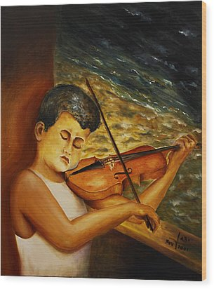 Wood Print featuring the painting The Sound Of Music by Itzhak Richter