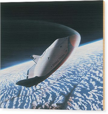 The Space Shuttle Re-entering The Earths Atmosphere Wood Print by Stockbyte