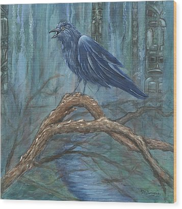 The Spirit Of Trickster Wood Print by Melodie Douglas