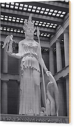 The Statue Of Athena Bw Wood Print by Linda Phelps
