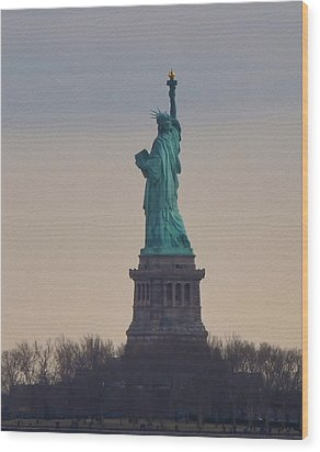 The Statue Of Liberty Wood Print by Bill Cannon
