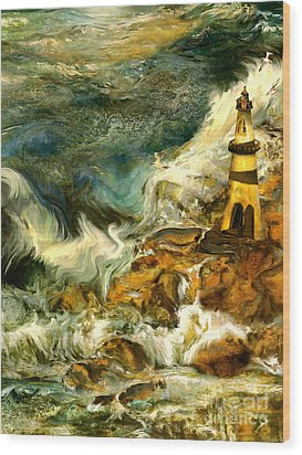The Steadfast Lighthouse Wood Print by Anne Weirich