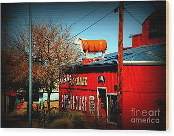 The Steakhouse On Route 66 Wood Print by Susanne Van Hulst