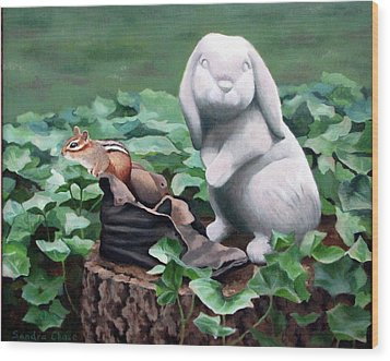 Wood Print featuring the painting The Stone Rabbit by Sandra Chase